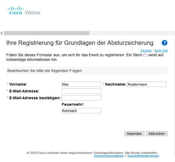 Registrierung Webex